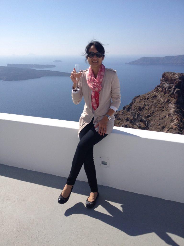 Cheers! Karen in Santorini