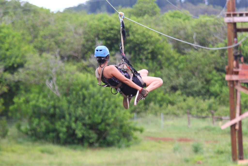 Karen zip-lining in Hawaii