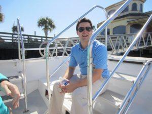 Patrick Millard on a Boat