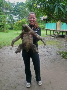 Courtney Regan with Sloth