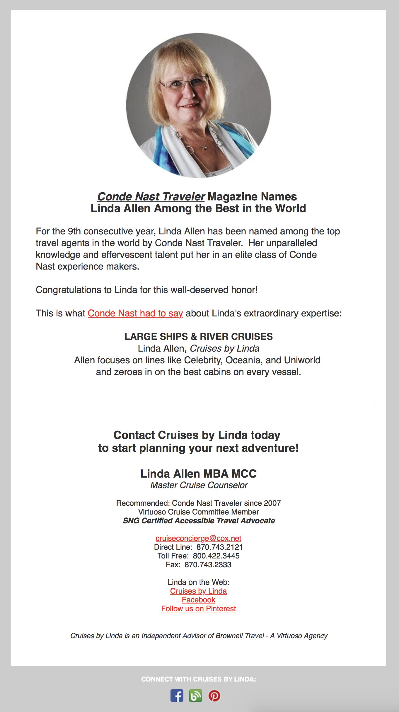 Linda Allen Conde Nast E-Blast